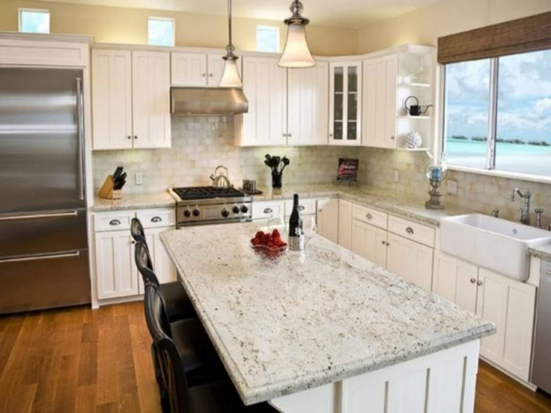Incredible White Granite Island with Apron Farmhouse Sink