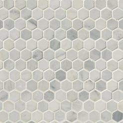 Arabescato Carrara 1inch Hexagon Honed In 12x12 Mesh