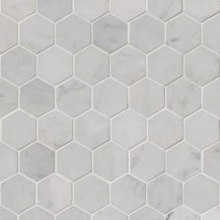 Carrara White 2inch Hexagon Polished