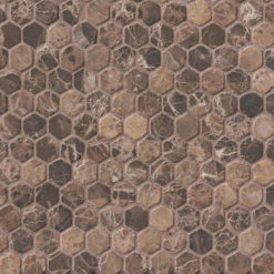 Emperador Dark 1inch Hexagon Tumbled In 12x12 Mesh