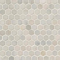 Greecian White 1inch Hexagon Polished In A Mesh