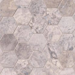 "Silver Travertine 3"" Hexagon Honed"