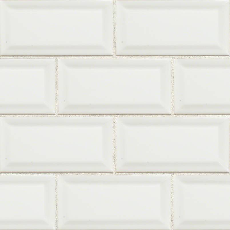 White Subway Tile Beveled 3x6