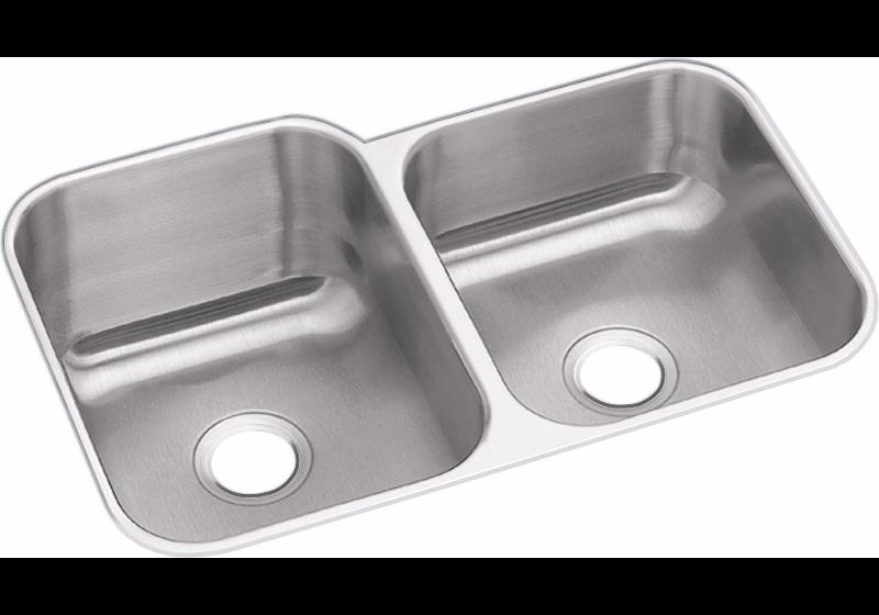 "Dayton Stainless Steel 31-3/4"" x 20-1/2"" x 10"", Offset Double Bowl Undermount Sink"