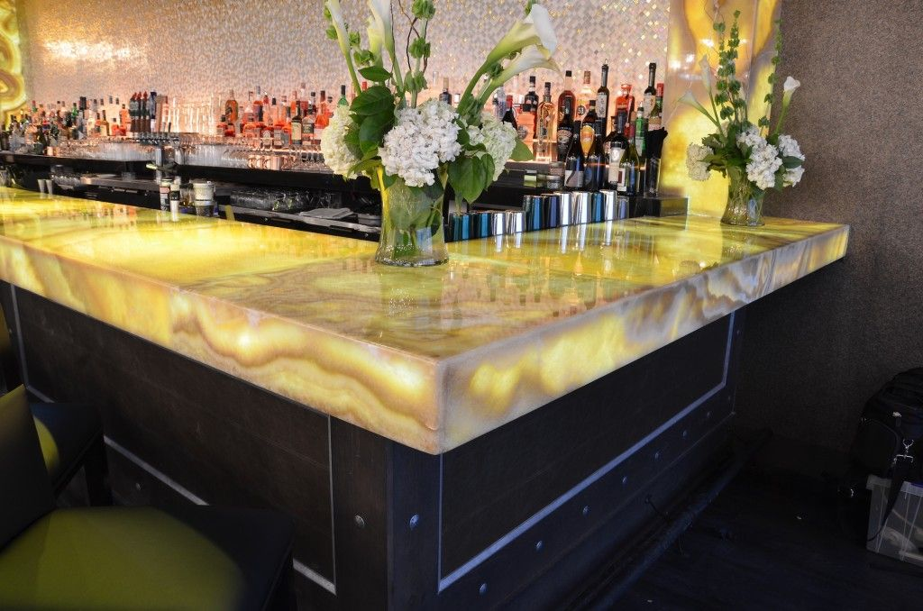 LED backlit quartzite onyx marble quartz countertop bar flowers