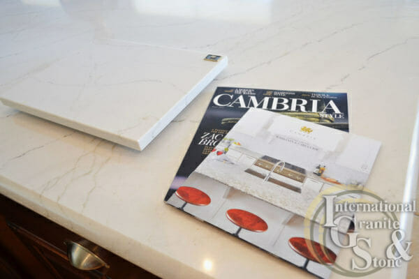 Cambria Quartz Ella Countertops Marble look warranty info magazine cutting board white kitchen