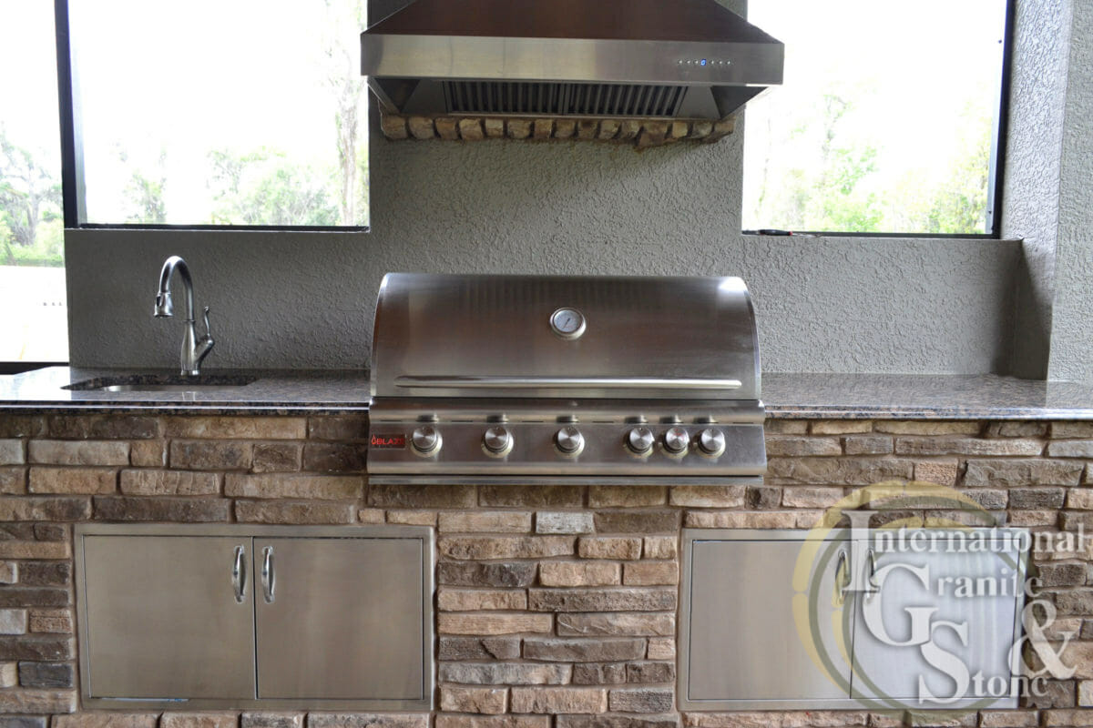 Baltic Brown Outdoor Kitchen Lakeland Orlando Fl Stainless Steel Grill sink faucet ogee edge hood