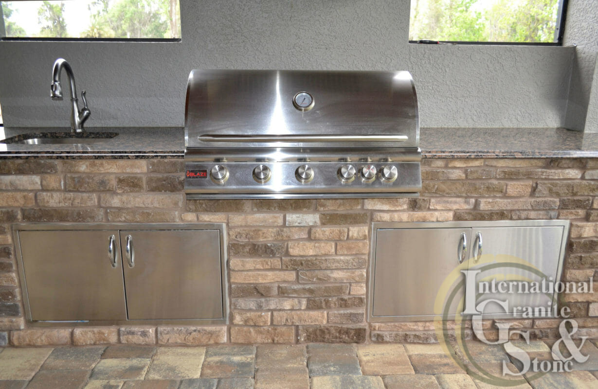 Baltic Brown Outdoor Kitchen Lakeland Orlando Fl Stainless Steel Grill Sink Faucet ogee edge