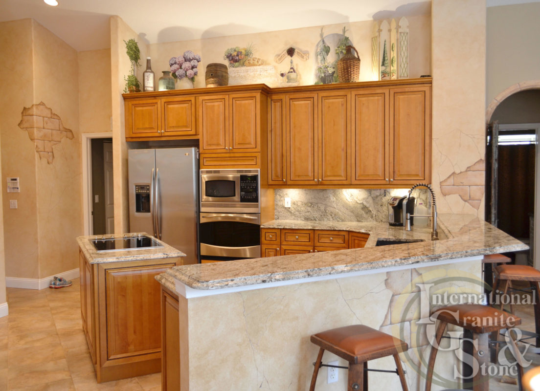 typhoon taupe granite kitchen countertops rustic led lighting highbar
