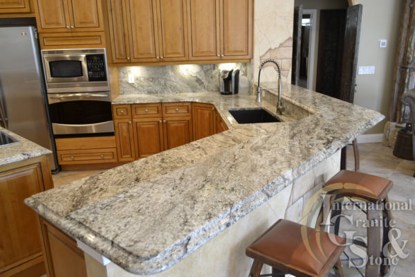 typhoon taupe granite countertops kitchen highbar ogee edge